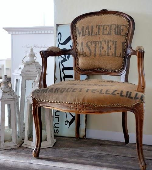 Butaca vintage tapizada tela de saco-enmiespaciovitalblogspotcom