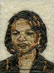 Condolezza Rice. Mosaico con granos de arroz