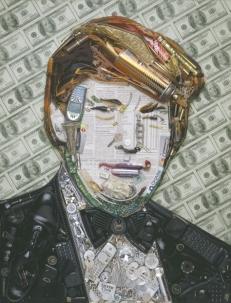 Donald Trump. Mosaico con móviles, dinero, objetos de aseo personal, cigarrillos, etc...