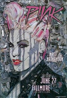 Cartel concierto de Pink. Mosaico con basura, móvil, pintauñas, etc...