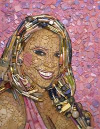 Mariah Carey. Mosaico con maquillaje