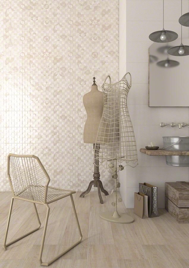 Maniquíes en baño con cerámica de Vives, Azulejos y Gres, S.A