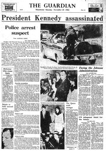 Kennedy assassinated Guardian front page 23 Nov 1963