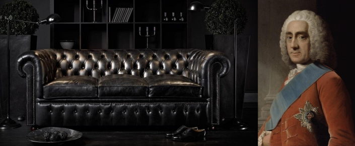 Sofá Chesterfield de Fleming & Howland y fotografia del IV Conde Chesterfield