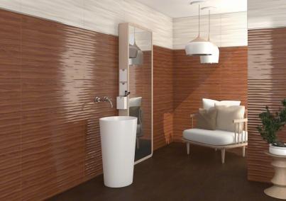 CHAMAREL: Chamarel-R Nácar , Bungle-R Natural - 32X99cm | Revestimiento | VIVES Azulejos y Gres S.A. #curves #tile #bathroom