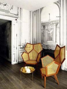 Sillas hechas con formas hexagonales