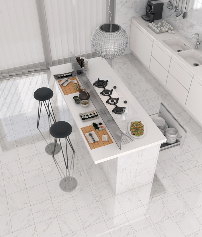 Revestimiento: Eliot-R Blanco 32X99 cm; Pavimento: Semele-R Blanco 29,3X29,3 cm