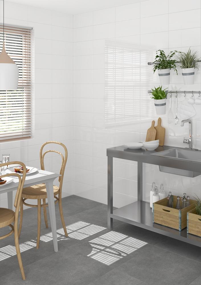 Revestimiento: Blanco Brillo 20X40 cm; Pavimento: Ruhr Cemento 60X60 cm