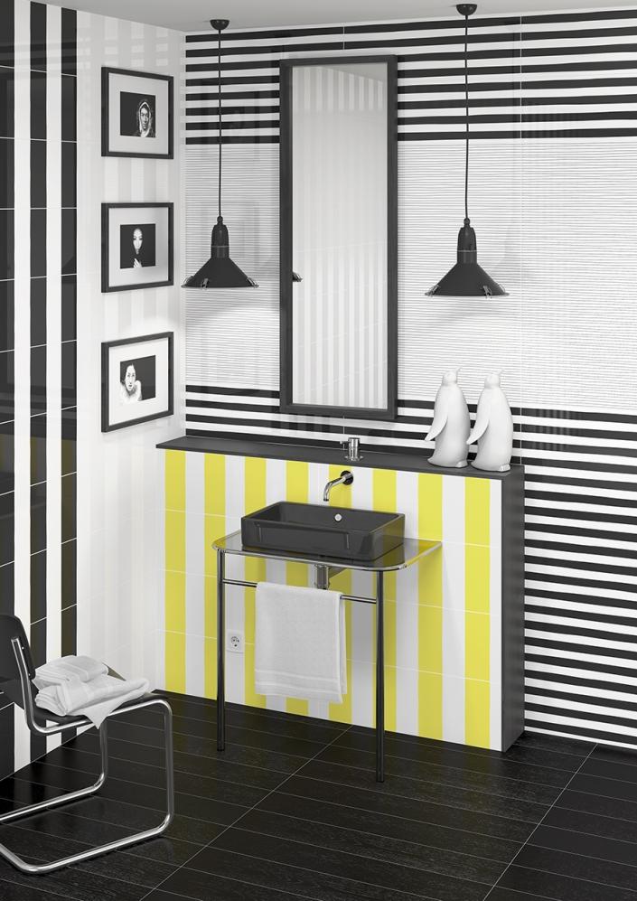Revestimiento: Asaro Lima, Asaro Light, Karo Black, Inuit Black 25X75 cm; Pavimento: Arhus-CR Negro 14,4X89,3 cm
