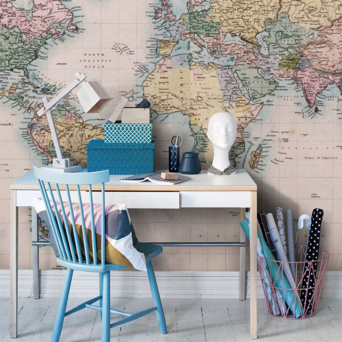 vintage-world-map-wall-mural-for-home-office-decoration-with-small-table-design-ideas
