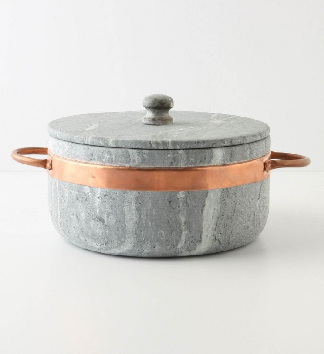 Soapstone Stock Pot with Copper Handles, from Anthropologie