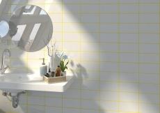 Rivoli Blanco Brillo 10x20cm con junta amarilla